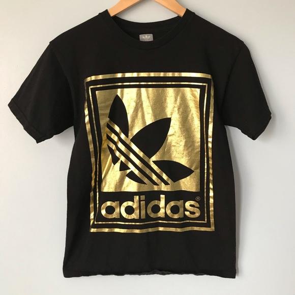 NEW! ADIDAS Women's Rose Gold foil ss Shirt white Boutique